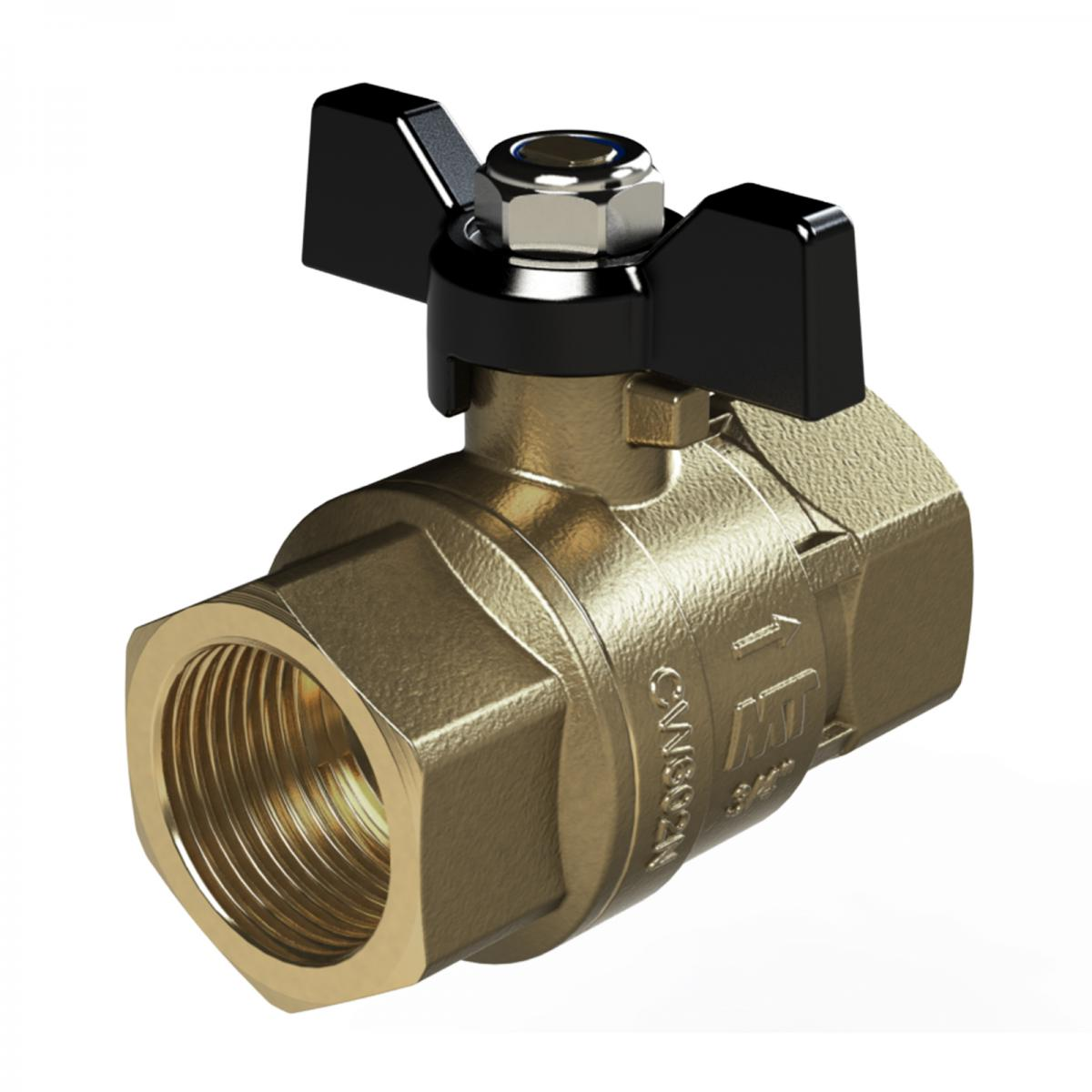 Male X Female Threaded Fitting with a Butterfly Handle Brass Ball Valve Full Bore
